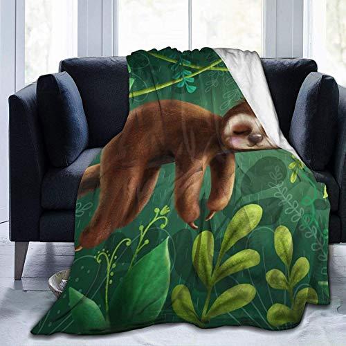 Cute Sloth Bear Hanging On Tree Fleece Throw Blanket Plush Soft Throw for Bed Sofa, 80'X60'