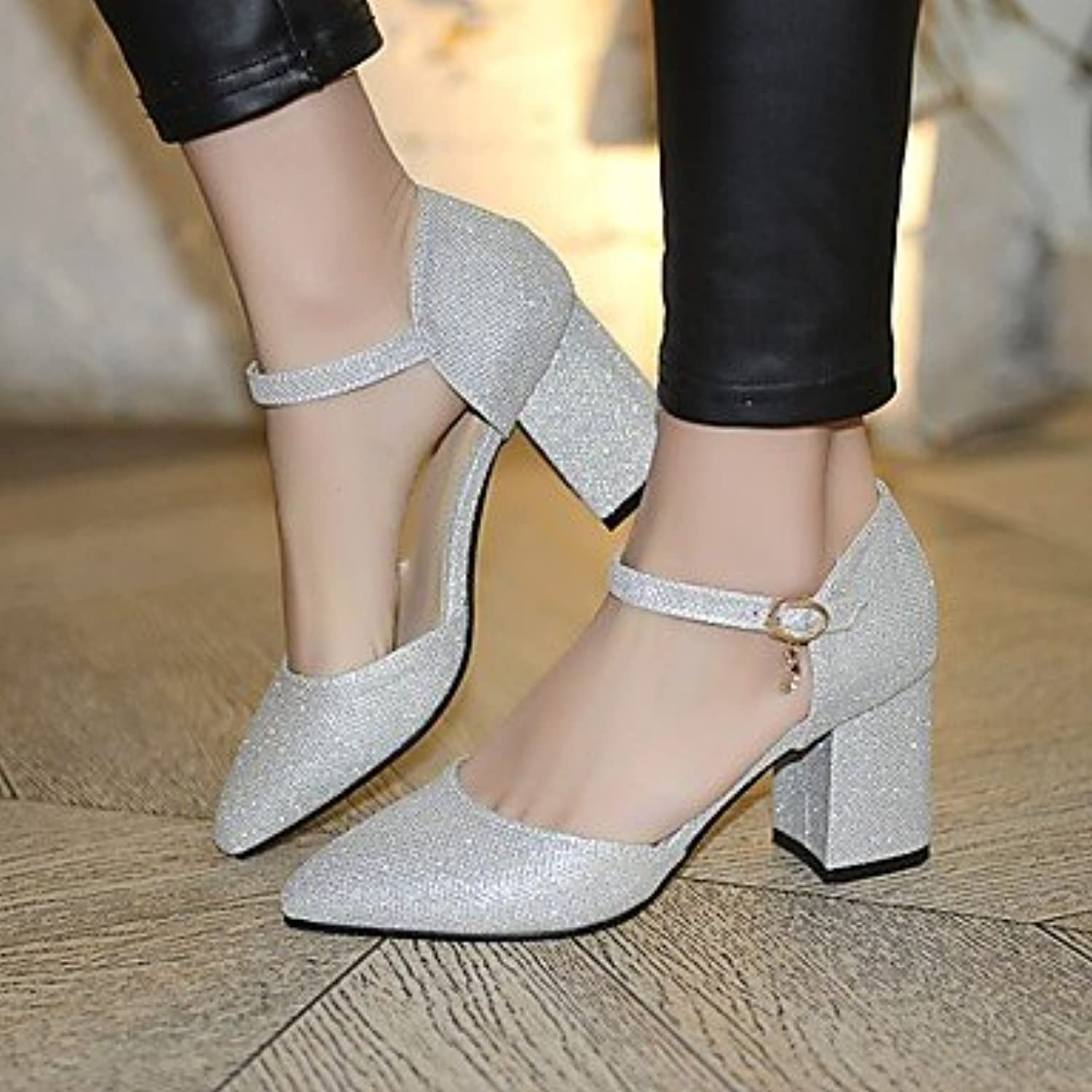Women 039 s Heels Comfort Nubuck leather PU Summer Casual Comfort Green Black 4in-4 3 4inSilverUS6.5-7 EU37 UK4.5-5 CN37