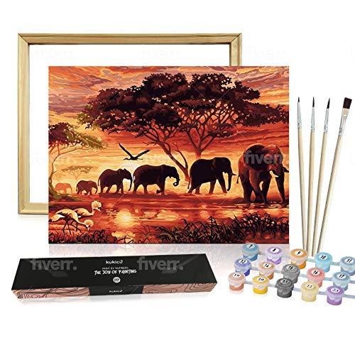 Kukicu Pintar por Numeros Adultos con Marco - Lienzo Enrollado sin arrugas - Cuadro para Pintar con Pinceles Pinturas al Oleo - DIY Kit - Arte y Manualidades (40 * 50cm, Con Marco) - Elefantes