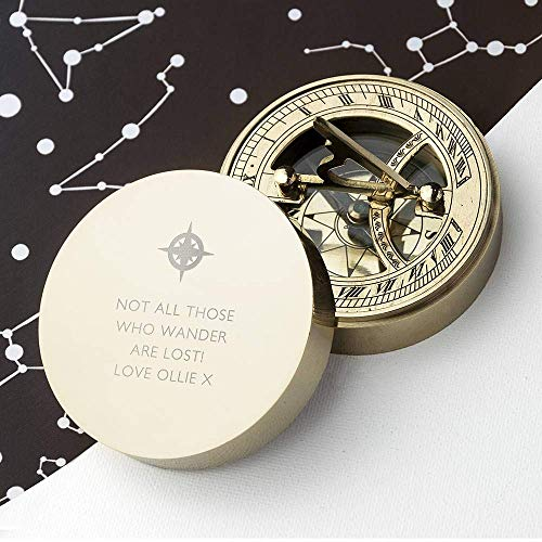 Worldmart Personalized Compass Sundial for Dad Compass Personalized Compass Engarved Antique Compass Custom Gift Brass Sundial Compass Fathers Day, Dad Gift (Only Compass)