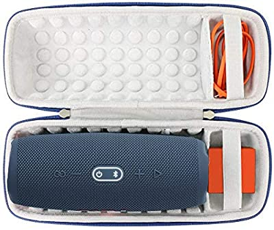 Khanka Hard Protective Travel Case for JBL Charge 4 / Charge 5 Portable Bluetooth Waterproof Speaker.(Blue exterior,White interior) by Khanka