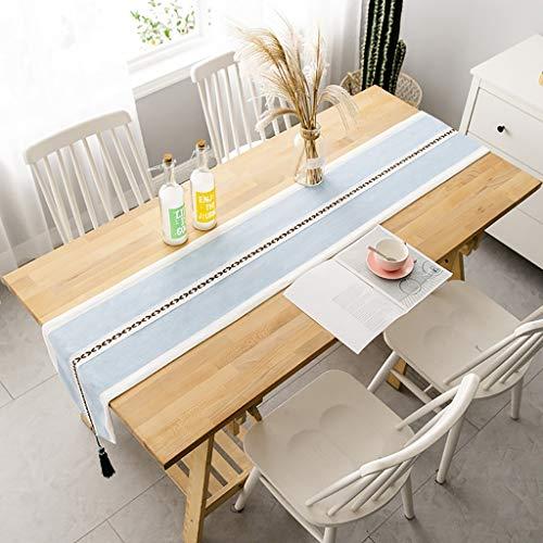 QL Tafel Runner Homes Eettafel Runner Effen Wasbaar Breedte Katoen Linnen Boom Patroon Tafelkleed Home Decoratie Blauw Met Kassels,2 Kleuren