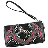 Justin West Horse Floral Embroidery Square Stud Croc Wristlet Trifold Wallet Attachable Long Strap (Hot Pink)