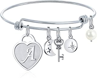 Initial Charm Bracelets for Women Gifts - Engraved 26 Letters Initial Charms Bracelet Stainless Steel Bangle Bracelet Birthday Christmas Jewelry Gift for Women Teen Girls