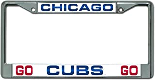 MLB Chicago Cubs Go Cubs Go Design Laser-Cut Chrome Auto License Plate Frame