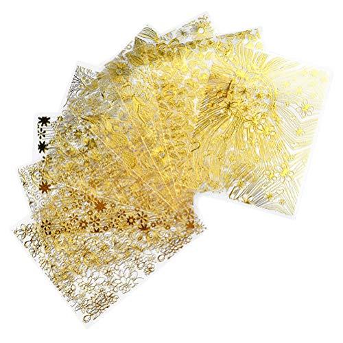 Scopri offerta per Beaupretty 8pcs 3D borchie per unghie in metallo dorato decalcomanie per unghie metalliche fiori a foglia d'oro adesivi per nail art in metallo trasferimento di acqua tatuaggio per unghie (oro)