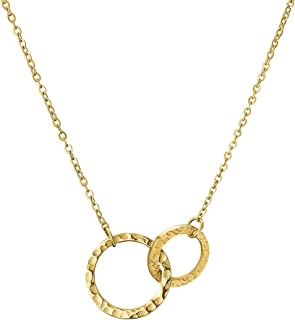 LAMOON Double Circle Necklaces for Women Gold 14K Plated Hammered Pendant Necklace Charm Simple Beautiful Fashion Stainles...