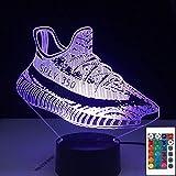 Lámpara de ilusión 3D Zapatillas Zapatillas Forma Sensor táctil Control Yeezy Boost Zapatos Niño Presente Escritorio 7 Colorido con control remoto