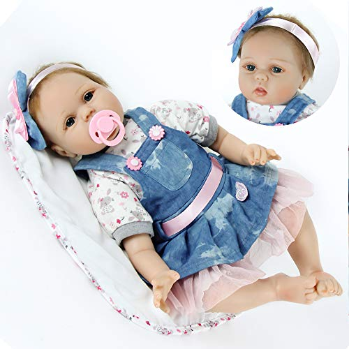 ZIYIUI Doll Bébé Bebe Poupée Reborn Fille Silicone Belle Lifelike Mignon 22 Pouces 55 cm Simulation Nouveau-Né Jouet