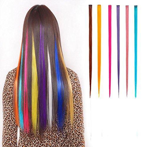 Haarsträhnen Zum Einklipsen Multi Farben Party Highlight Clip im Friseursalon Liefern Gerade Perücken für Frauen 55 cm / 21 Zoll (6 Stück gerade)