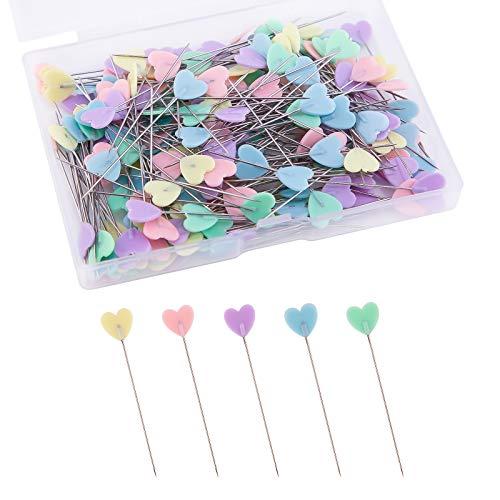 LUTER 200 st platta kärleks huvudnålar med en förvaringslåda blandade färger dekorativa nålar för klädkammare hantverk sömnadsprojekt