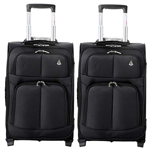 Aerolite Super Lightweight Travel Carry On Cabin Hand Luggage Suitcase with 2 Wheels, Approved for Ryanair, easyJet, British Airways, Virgin Atlantic, Flybe and Many More, Set of 2, Black