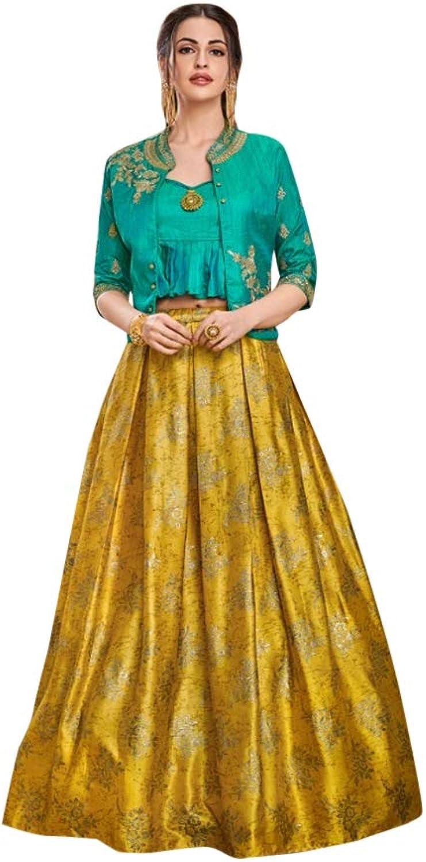 Designer Evening Cocktail wear Satin Silk Jacket Style Crop top with Skirt Indian Women Dress 7622