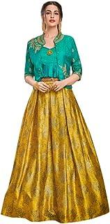 Designer Evening Cocktail wear Satin Silk Jacket Style Crop top with Skirt Indian Women Dress 7622 (44) SB