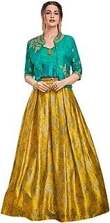 Designer Evening Cocktail wear Satin Silk Jacket style Crop top with Skirt Indian Women dress Gown