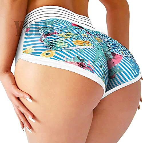 YOFIT Womens Ruched Butt Lifting Gym Shorts High Waisted Booty Yoga Shorts Workout Running Twerking Daisy Dukes Shorts Floral&Blue Stripes L