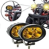 Faros Auxiliares de Moto,20W Faros Antiniebla Moto LED Foco Luces de trabajo Luz delantera auxiliar 12V/24V Amarillo para Moto Auto SUV ATV