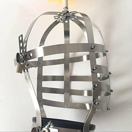 DRSMDR Cosplay Maske Für Halloween Christmas Party Costume Mask,Kopfmaske Cosplay Spiel Kapuze,Metall Edelstahl, Abschlie r Mit Schl ern,Man