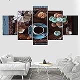 Novedades 5D Diy Diamante Pintura 5Pcs Desayuno Café Fotos Mosaico Completo Ronda/Cuadrado Pintura Rhinestone Bordado,10x15cm 10x20cm 10x25cm