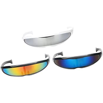 D Dolity 3er Set Futuristische Sonnenbrille Verspiegelte Brille Fur Kostum Party Club Tanz Props Amazon De Spielzeug