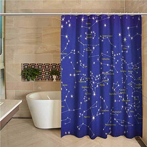 N\A Blumenduschvorhang Konstellation Astronomie Wissenschaft Namen der Sterne Sternzeichen Nachthimmel Violett Blau Weiß Hellgelb