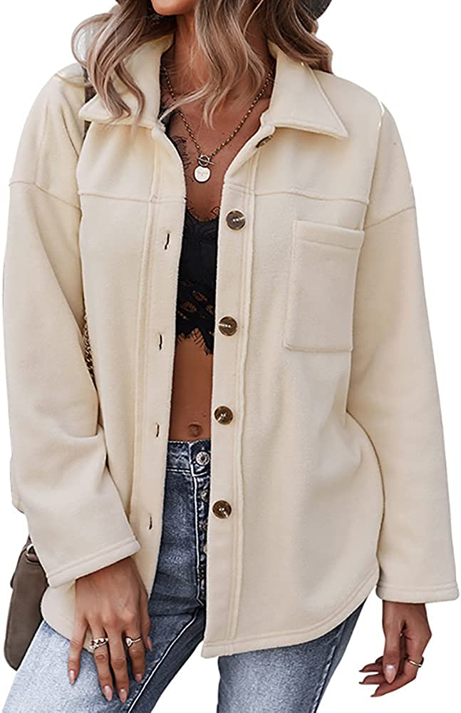 ZOCANIA Womens Solid Coat Long Sleeve Outfit Button Down Casual Jackets Winter Lapel Outerwear