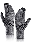 Mens Gloves Winter, HONYAR Snow Gloves Women with Touch Screen Fingers - Texting Running Driving Gloves for Extreme Cold Weather with Thermal Warm Liners - Thick and Hand Warmer - Black White (L)