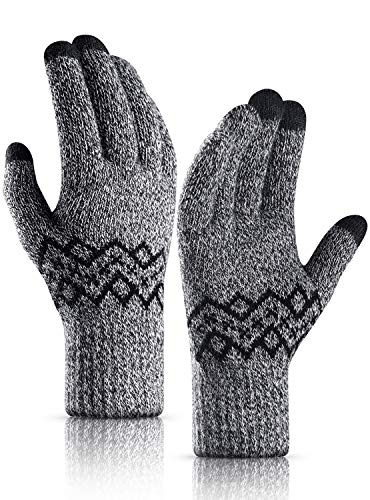 TRENDOUX Gloves, Touch Screen Winter Glove Men Women Unisex - Stretchy Material - Elastic Cuff - Hands Warm Windproof for Driving Walking Hiking - Thickened Knit Extreme Cold Weather Glove - Black M