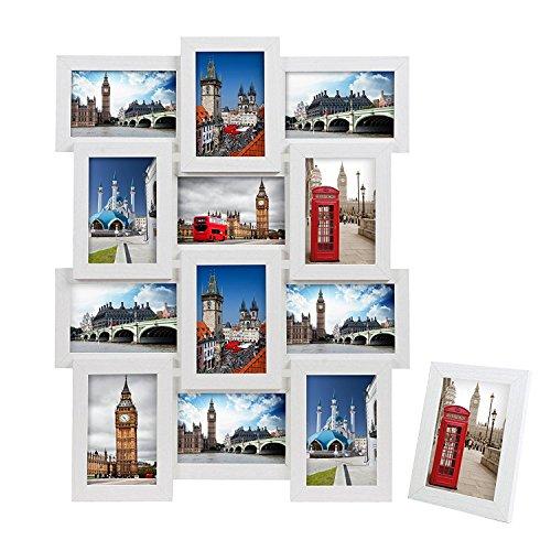 SONGMICS Bilderrahmen Collage für 12 Fotos, je 10 x 15 cm (4 x 6), mit 1 Einzelfotorahmen, 13er Fotogalerie für Collagen, aus MDF, Montage erforderlich, weiß, mit Holzmaserung RPF112W