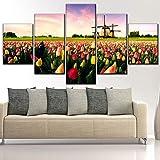 Impresión en lienzo Tipo Obra Moderna Sala de estar Decorativa de la pared 5 Panel Tulipán dulce y molino de pintura Marco o sin marco