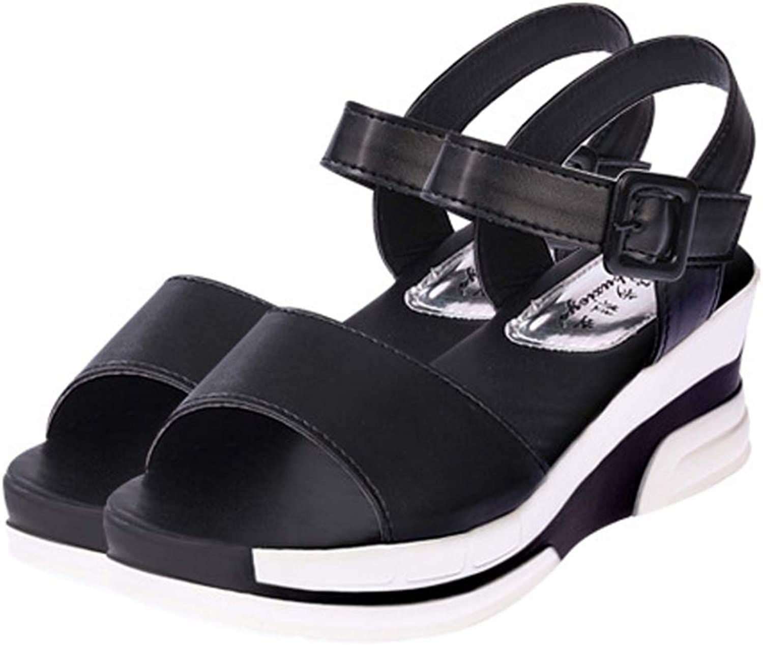 T-JULY Women's Wedge Sandal Fashion Summer Waterproof Platform Fish Mouth Med Heel with Buckle Ladies shoes