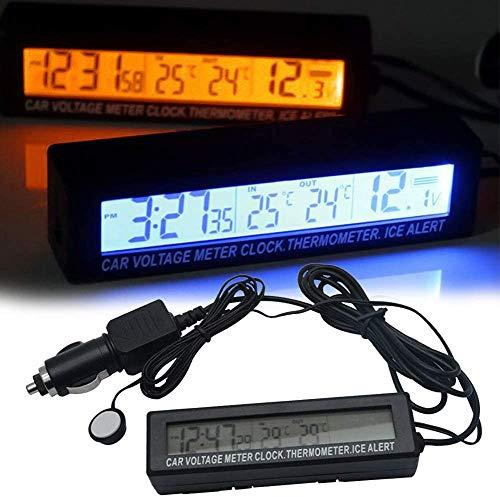 Auto Thermometer mit Temperatur Meter, in/aus Thermometer, Voltmeter, Volt Monitor, LCD-Display, Digitaluhr mit Zigarettenanzünder und Auto Ladegerät - Schwarz