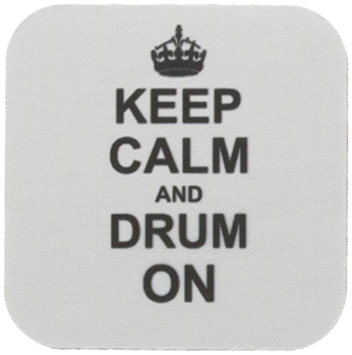 3dRose CST_157715_1 Keep Calm and Drum on Carry on Drumming Geschenk für Schlagzeuger Percussionisten Musiker lustiger Humor weiche Untersetzer 4er-Set