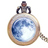 Blue Moon Pocket Watch Vintage Light Moon in The Space Galaxy Handmade Pocket Watch with Necklace Chain