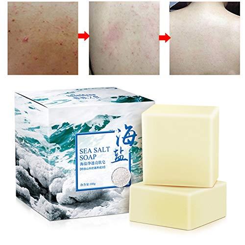 1 pieza de jabón de sal marina con barra de jabón de leche de cabra natural para la cara, cuerpo, suave, limpia la piel, encoge los poros, disipa los ácaros, suaviza el acné, controla el aceite