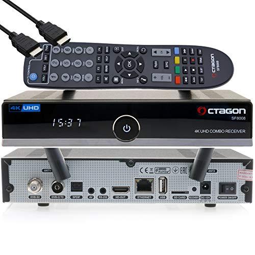 OCTAGON SF8008 4K UHD HDR Receptor Combo 1xDVB-S2X & 1x DVB-C/DVB-T2 – satélite, cable / señal terrestre, E2 Linux IPTV Smart TV Box, Media Server, función de grabación, HDMI, Dual WiFi