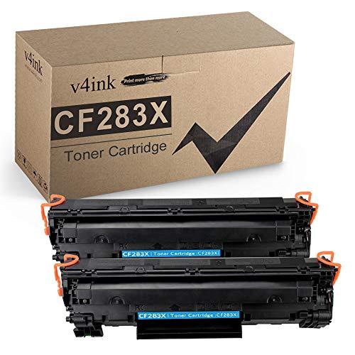 v4ink Compatible CF283X Toner Cartridge Replacement for HP 83X CF283X 83A CF283A for use in HP Laserjet Pro MFP M127fw M127fn M125nw M201dw M201n M225dn M225dw M125a Series Printer (Black, 2 Pack)