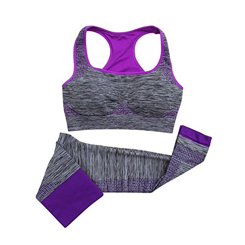 EFINNY Women Leggings Set Yoga Fitness Seamless Bra+Pants Gym Sports Wear Purple