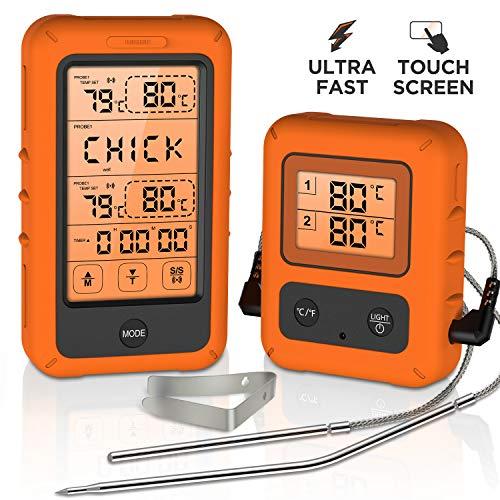 Olivivi Funk Bratenthermometer mit Großem LCD-Touchscreen Digitales Grillthermometer mit 2 Sonden Ofenthermometer Alarm and Countdown Praktisches Küchengerät für Grillen, Smoker, Kochen, Baken…
