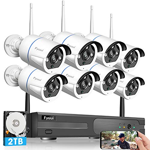 【Two-Way Audio】 Security Camera System Wireless, Fyuui 1080P 8 Channel Wireless Surveillance NVR with 2TB Hard Drive, 8pcs 2.0 Megapixel (1920×1080P) WiFi IP Bullet Camera Outdoor Indoor, H.265+ NVR