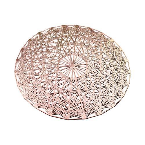 ASFINS Dessous Assiette Rond, 4 pièces Napperons Set de Table Tapis de Table pour Table Salle à Manger Cuisine (Or Rose, 38cm)