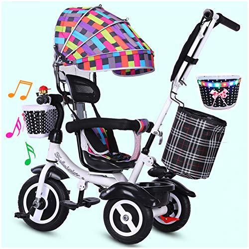 WWSC 4-in-1 Kinder Trike Kinderwagen, höhenverstellbares Schub-Dreirad für 6 Monate - 6 Jahre -sicheres Zuhause...