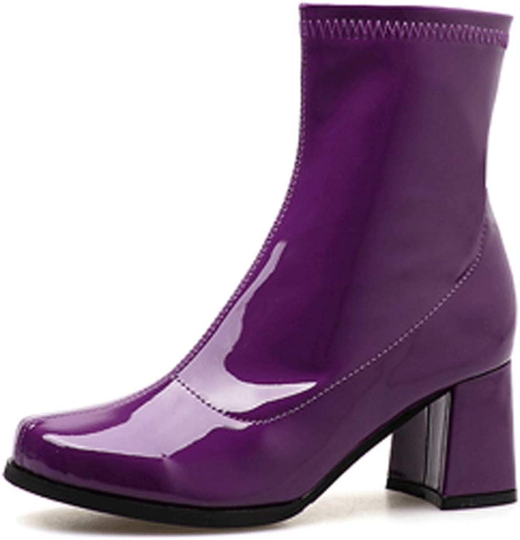 LIURUIJIA Women's Go Go Boots Over The Knee Block Heel Zipper Boot XZ-DX-03
