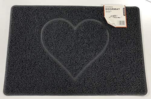 Nicoman Spaghettimatten Fußmatte für den Eingangsbereich|Robuste Schmutzfangmatte aus Vinylschlingen|Innen und Aussen | Geprägt Herz【60x40cm, Klein】,Schwarz