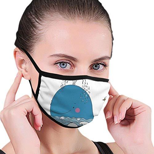 Mundschutz Windschutzschal mit Gesichtsmundabdeckung, Karikatur von Meeressäugetieren, die im Meer Schwimmen und Wasser mit Möwe Spritzen, Bedruckte Gesichtsdekorationen für Erwachsene
