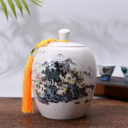 Buy Bargain Tea Cans Chinese Ceramic Tea Canister Mini Tea Tin Storage Container Tea Can for Home Ma...