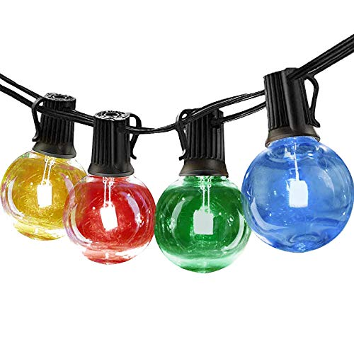 Guirnaldas luminosas de exterior Vistoso, Bomcosy G40 RGBW Cadena de Luces 30m con 50+1 led Bombilla Guirnalda Luces IP45 Impermeable Luces Exterior de patio,Garden Terrace Luces de patio de Navidad