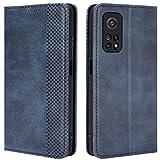 HualuBro Funda para Xiaomi Mi 10T Pro, Funda Libro de Retro PU Cuero con Ranura para Tarjetas y Billetera Flip Cover Magnético Carcasa para Xiaomi Mi 10T Pro 5G Case (Azul)