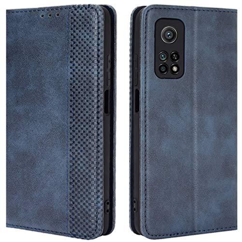 HualuBro Handyhülle für Xiaomi Mi 10T Pro Hülle, Retro Leder Stoßfest Klapphülle Schutzhülle Handytasche LederHülle Flip Hülle Cover für Xiaomi Mi 10T Pro 5G Tasche, Blau