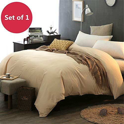 KLLT Dekbedovertrek, eenkleurig, voor eenpersoonsbed, 100% katoen, comfortabel, met overtrek voor slaapkamer, slaapzak, dekbedovertrek, voor eenpersoonsbed